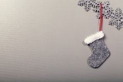 Christmas sock hanging on clean background Stock Images