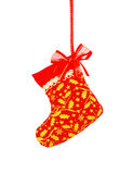 Christmas sock hanging over white  background, clipping path Royalty Free Stock Image