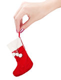 Christmas Sock in His Hand Stock Photography