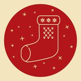 Christmas sock icon in thin line style Royalty Free Stock Image