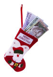 Christmas sock and money Stock Image