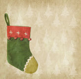 Christmas sock with old paper Stock Image