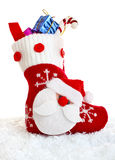 Christmas sock with present Stock Image
