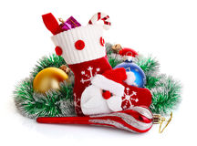Christmas sock with present and decoration Royalty Free Stock Image