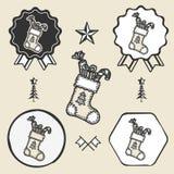 Christmas sock presents gifts vintage symbol Stock Image