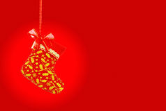 Christmas sock on red background, clipping path Stock Images