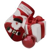Christmas sock, red ball and white gift box Royalty Free Stock Photography