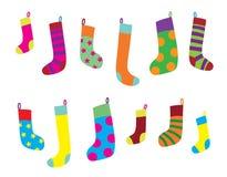 Christmas Sock Set. Colorful vector Christmas sock set Royalty Free Stock Photography