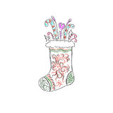 Christmas sock, sketch, vector illustration Royalty Free Stock Photos
