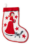 Christmas sock with a snow white Stock Photo