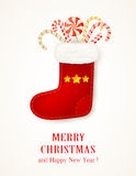 Christmas sock with stars and candy canes Royalty Free Stock Photos
