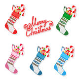 Christmas sock with sweets set Royalty Free Stock Photography