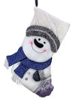 Christmas sock. White textile snowman christmas sock with blue scarf royalty free stock photo