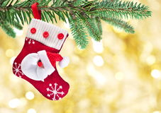 Christmas Sock With Santa Claus Stock Images