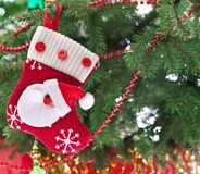 Christmas Sock With Santa Claus Royalty Free Stock Photo