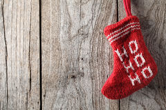 Christmas sock on wood Royalty Free Stock Photography