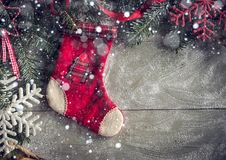 Christmas sock with decoration Royalty Free Stock Images