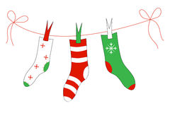 Christmas socks. On the rope Stock Images