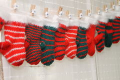 Christmas socks. One christmas calendar with colorful stockings Royalty Free Stock Photos