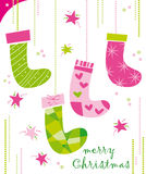 Christmas socks. Christmas card with socks and greetings royalty free illustration