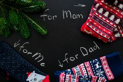 Christmas socks for all family Stock Photos