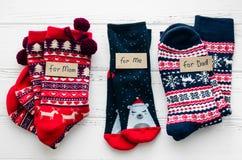 Christmas socks for all family Stock Photo