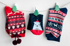 Christmas socks for all family Royalty Free Stock Photography