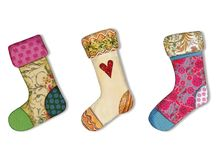 Christmas socks. Artistic collage, watercolors on paper Stock Image