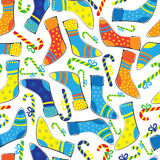 Christmas socks and candy seamless pattern Stock Image