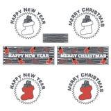 Christmas socks with coal. Set logos and emblems of Christmas socks with coal Stock Images