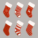 Christmas socks collection Royalty Free Stock Photography