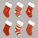 Christmas socks collection Royalty Free Stock Photography