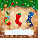 Christmas socks and copy space on wooden background Stock Images