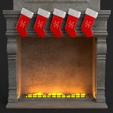 Christmas socks on fireplace. 3d render of christmas socks on fireplace Royalty Free Stock Photography