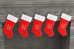 Christmas socks on fireplace. 3d render of christmas socks on fireplace Royalty Free Stock Photo