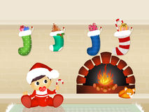 Christmas socks on the fireplace. Illustration of Christmas socks on the fireplace Stock Photos
