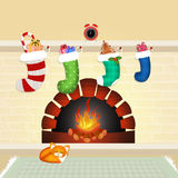 Christmas socks on the fireplace. Illustration of Christmas socks on the fireplace Stock Photo