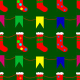 Christmas socks and flags doodle seamless pattern Stock Images