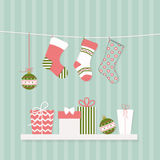 Christmas socks and gifts Stock Photos