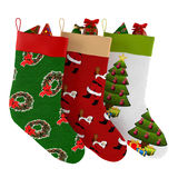 Christmas socks with gifts isolated Royalty Free Stock Photo