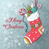 Christmas socks with gifts. Vector illustration. Hand drawing Royalty Free Stock Photo