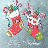 Christmas socks with gifts. Vector illustration. Hand drawing Royalty Free Stock Photos