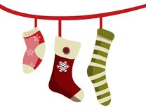 Christmas socks for gifts. Vector illustration isolated Stock Photos