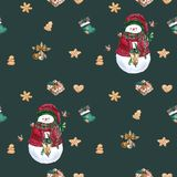 Christmas socks, gingerbread cookies, christmas tree branches,snowman, cinnamon, candy cane, lantern. Seamless pattern. Watercolor vector illustration