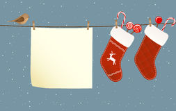 Christmas socks hanged on a clothesline Stock Photos