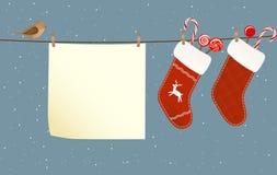 Christmas socks hanged on a clothesline Stock Photos