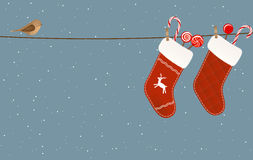 Christmas socks hanged on a clothesline Stock Images
