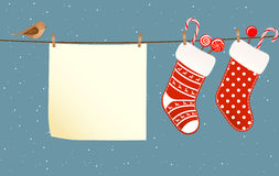 Christmas socks hanged on a clothesline Stock Photography