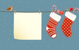 Christmas socks hanged on a clothesline Stock Photography