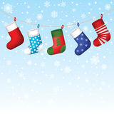 Christmas socks hanging Royalty Free Stock Images